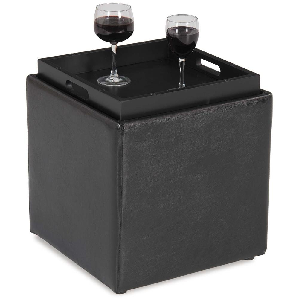 BLOCKS BLACK STORAGE OTTOMAN WITH TRAY